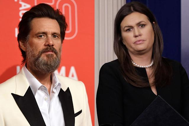Jim Carrey; Sarah Sanders. (Photo: Getty Images)