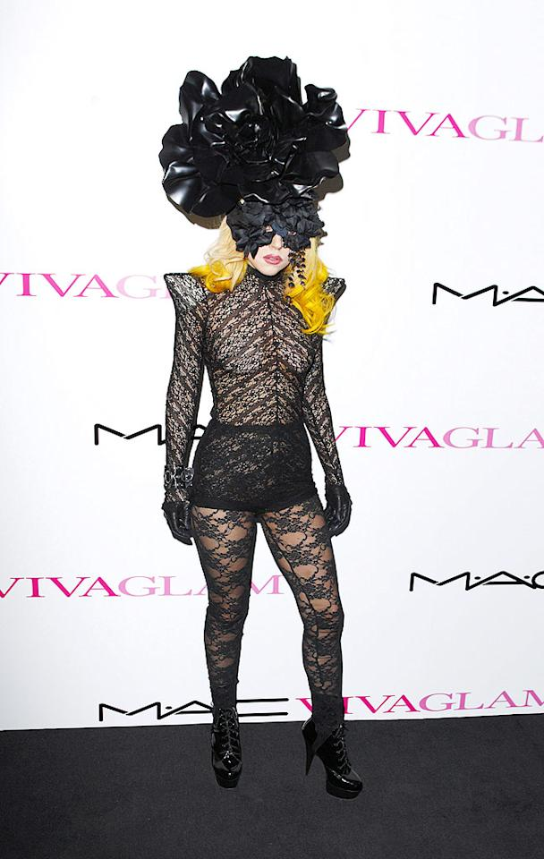 """So you either love her or hate her. Personally, we love Lady Gaga's giant rose headdress ... it's the multi-patterned lace from head to toe that makes us a little dizzy, and a little itchy too. At least it was for a good cause -- the pop star was attending the M.A.C. Viva Glam launch in London to raise funds for AIDS research. Mike Marsland/<a href=""""http://www.wireimage.com"""" target=""""new"""">WireImage.com</a> -March 1, 2010"""