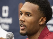Cleveland Cavaliers first round draft selection, Evan Mobley speaks with reporters during a news conference at the Cavaliers training facility in Independence, Ohio, Friday, July 30, 2021. Mobley was the third selection of the draft. (AP Photo/Phil Long)