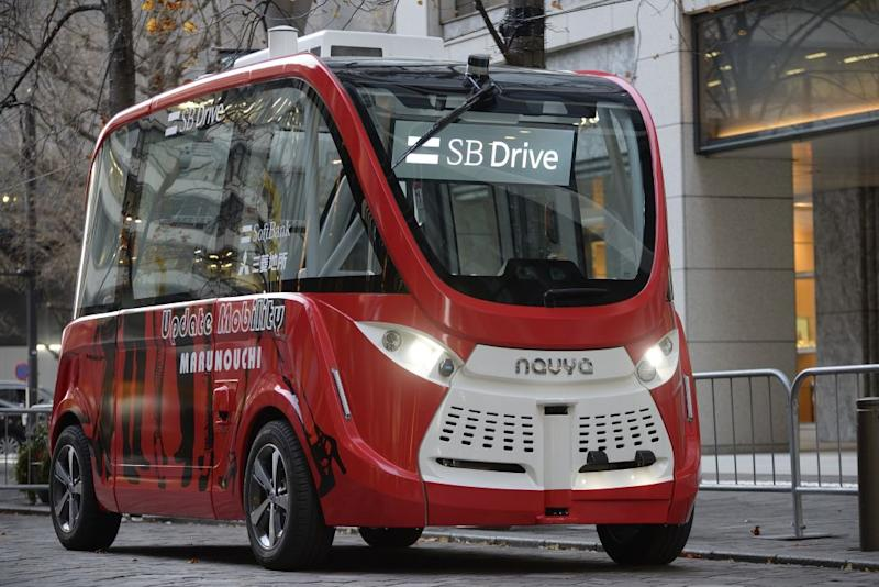 L'autobus Navya Technologies SAS, costruito in Francia. (Photo by David Mareuil/Anadolu Agency/Getty Images)