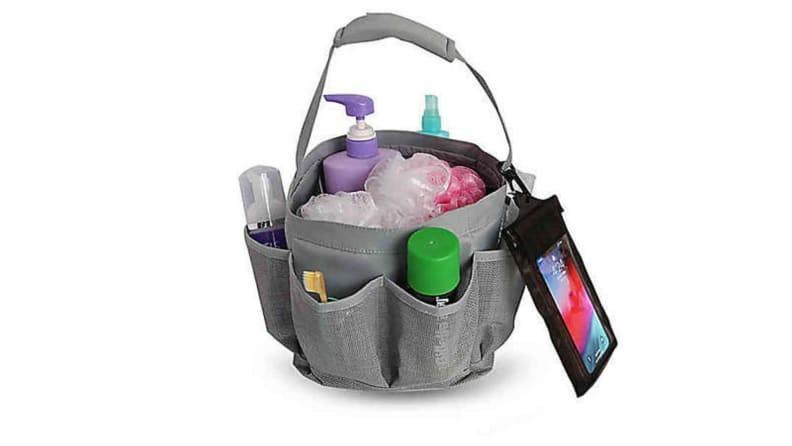 Storing your toiletries in a shower caddy allows for easy transport and organization.