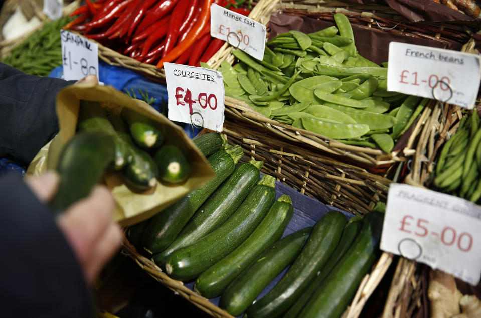 Courgettes for sale at a vegetable market, in London. Photo: Peter Nicholls/Reuters