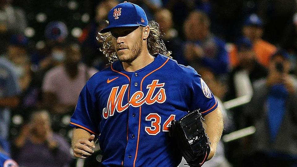 Sep 28, 2021; New York City, New York, USA; New York Mets starting pitcher Noah Syndergaard (34) takes the mound for the first time in over two years during the first inning of game two of a doubleheader against the Miami Marlins at Citi Field.