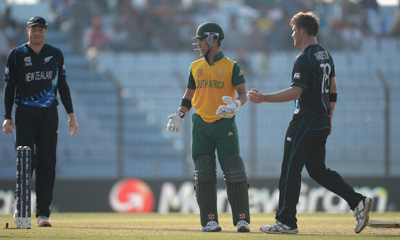 CHITTAGONG, BANGLADESH - MARCH 24:  JP Duminy of South Africa reacts after Hashim Amla of South Africa is caught out by Corey Anderson of New Zealand during the ICC World Twenty20 Bangladesh 2014 Group 1 match between New Zealand and South Africa at Zahur Ahmed Chowdhury Stadium on March 24, 2014 in Chittagong, Bangladesh.  (Photo by Gareth Copley/Getty Images)