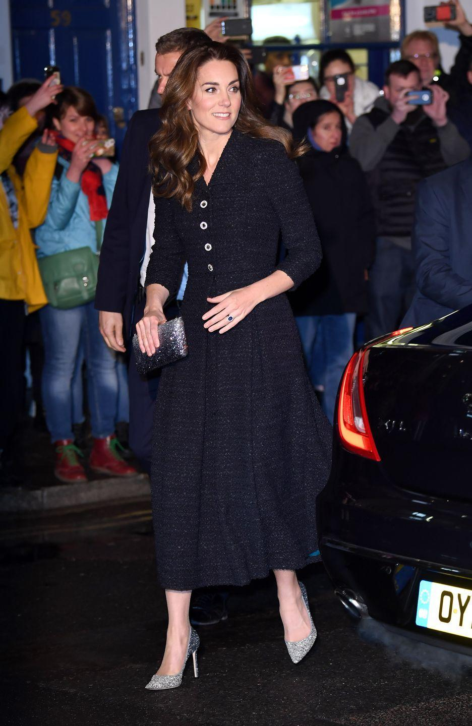 """<p>In London, <a href=""""https://www.townandcountrymag.com/society/tradition/a31081862/kate-middleton-eponine-dress-dear-evan-hansen-photos/"""" rel=""""nofollow noopener"""" target=""""_blank"""" data-ylk=""""slk:the Duchess attended a charity performance"""" class=""""link rapid-noclick-resp"""">the Duchess attended a charity performance</a> of <em>Dear Evan Hansen</em>, in support of The Royal Foundation. For the event, Kate chose an Eponine dress and sparkly silver stilettos, believed to be Jimmy Choos. </p>"""