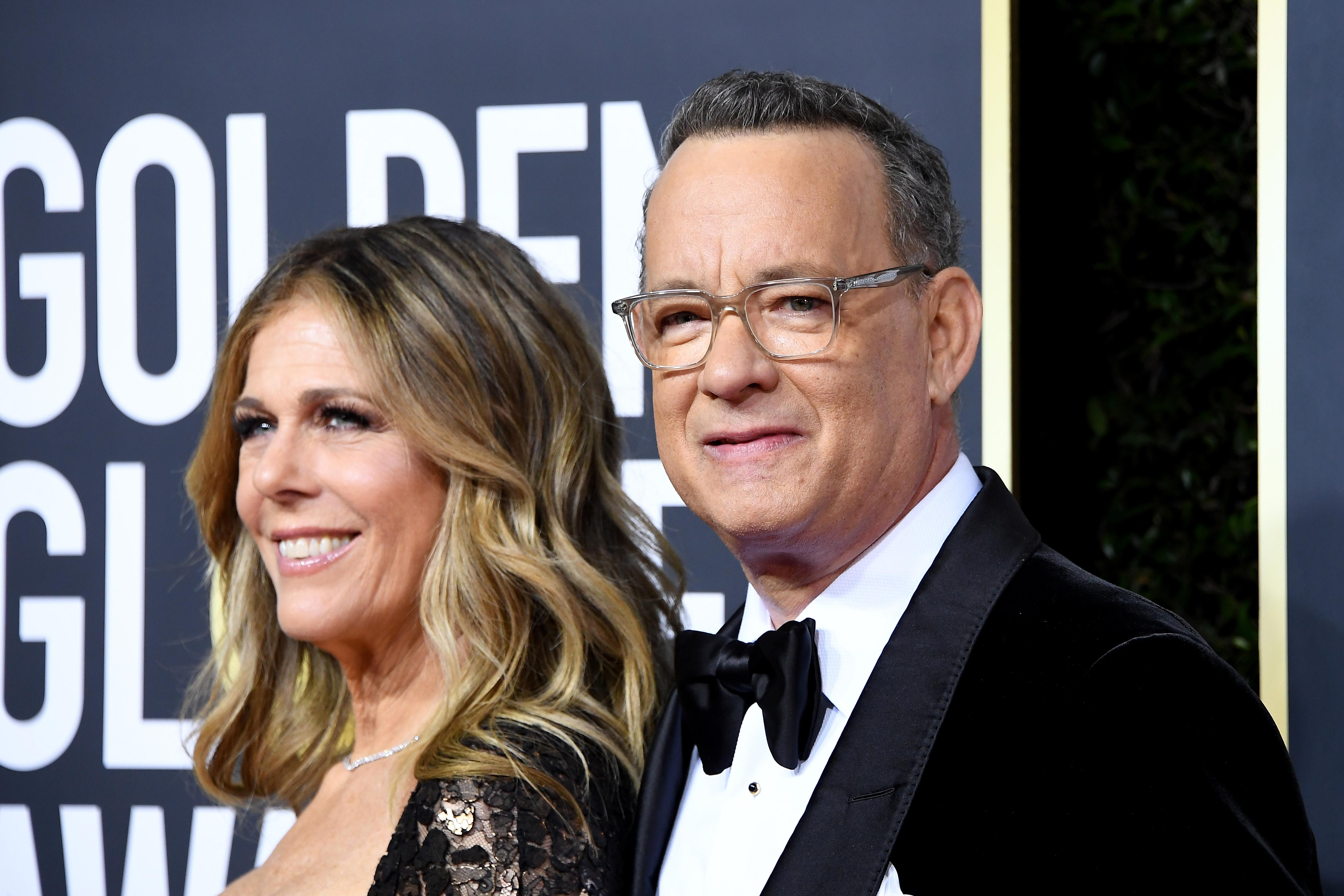 BEVERLY HILLS, CALIFORNIA - JANUARY 05: (L-R) Rita Wilson and Tom Hanks attend the 77th Annual Golden Globe Awards at The Beverly Hilton Hotel on January 05, 2020 in Beverly Hills, California. (Photo by Steve Granitz/WireImage)