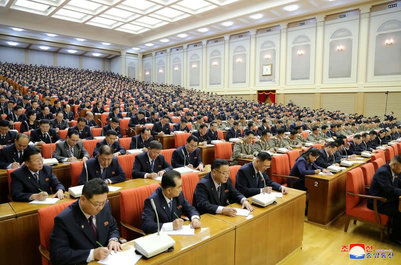 Attendees are seen during the 5th Plenary Meeting of the 7th Central Committee of the Workers' Party of Korea