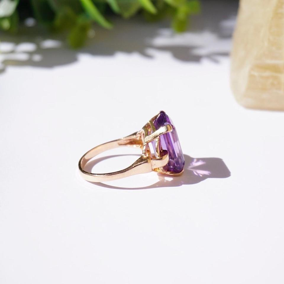 """<br><br><strong>Goods Vintage</strong> Amethyst 14K Gold Cocktail Ring, $, available at <a href=""""https://go.skimresources.com/?id=30283X879131&url=https%3A%2F%2Fwww.etsy.com%2Flisting%2F874553533%2Fvintage-14k-rose-gold-amethyst-ring"""" rel=""""nofollow noopener"""" target=""""_blank"""" data-ylk=""""slk:Etsy"""" class=""""link rapid-noclick-resp"""">Etsy</a>"""