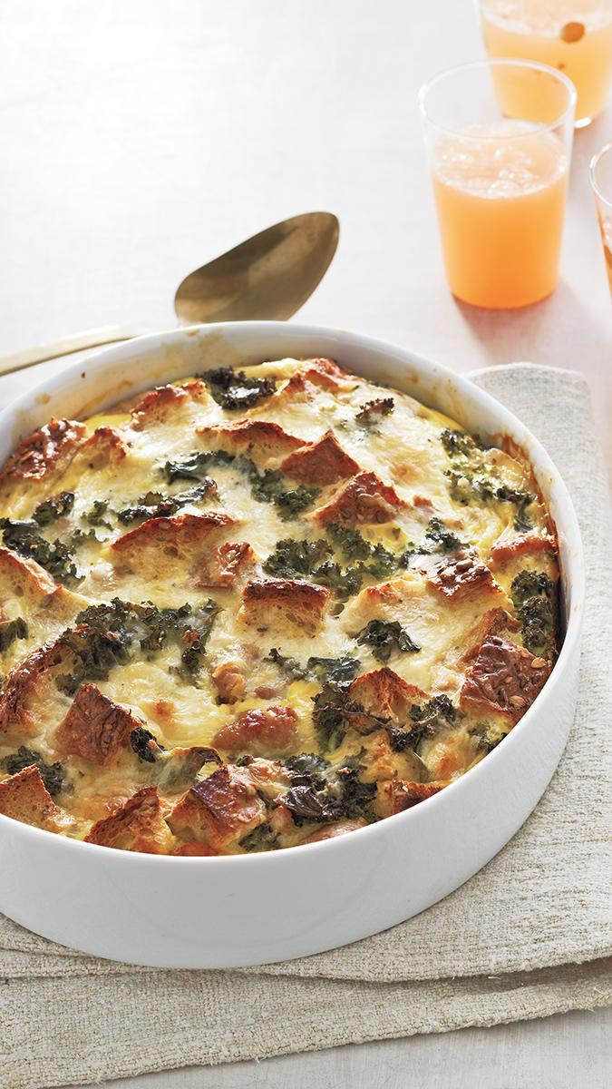 <p>You can prep this tasty bread pudding the night before, then just pop it in the oven the next morning. (It's also just as tasty at room temperature, if you want to make it in full the night before.)</p>