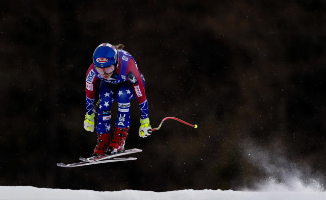 Mikaela Shiffrin goes airborne during a training session at the women's World Cup downhill in Cortina d'Ampezzo. (AP)