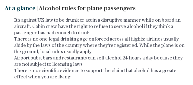 At a glance   Alcohol rules for plane passengers