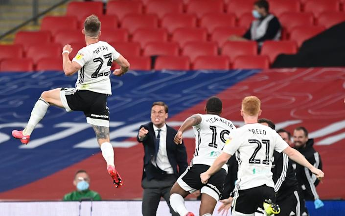 Joe Bryan of Fulham celebrates after scoring his sides first goal during the Sky Bet Championship Play Off Final match - ShaunBotterill/Getty Images Europe