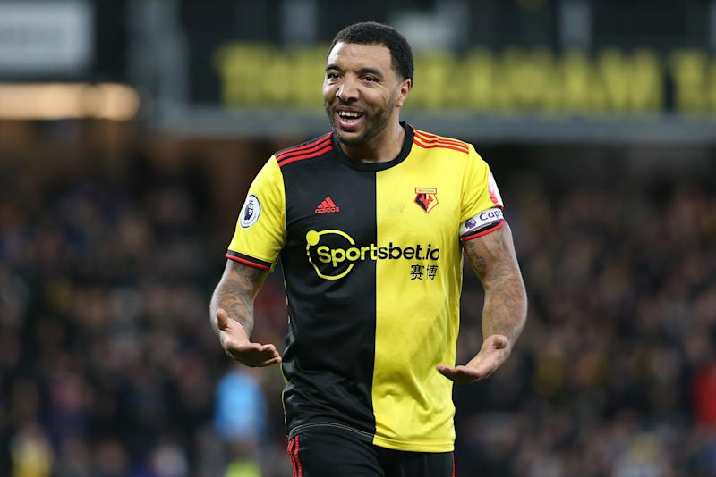 WATFORD, ENGLAND - FEBRUARY 29: Troy Deeney of Watford celebrates their opening goal during the Premier League match between Watford FC and Liverpool FC at Vicarage Road on February 29, 2020 in Watford, United Kingdom. (Photo by Charlotte Wilson/Offside/Offside via Getty Images)