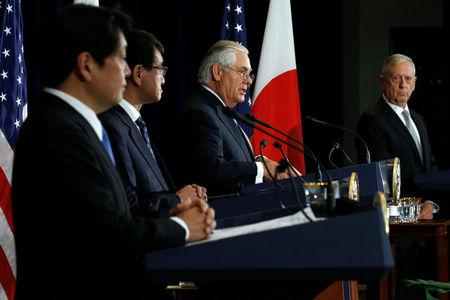 Japan's Defense Minister Itsunori Onodera (L-R), Japan's Foreign Minister Taro Kono, U.S. Secretary of State Rex Tillerson and U.S. Defense Secretary James Mattis hold a news conference after their U.S.-Japan Security talks at the State Department in Washington, U.S., August 17, 2017. REUTERS/Jonathan Ernst
