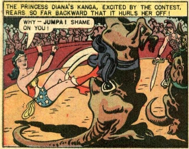 Diana and her faithful mount, Jumpa the Kanga. (Credit: DC Comics)
