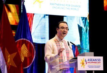 Philippine Foreign Secretary Cayetano speaks during the closing ceremony of ASEAN Regional Forum in Manila