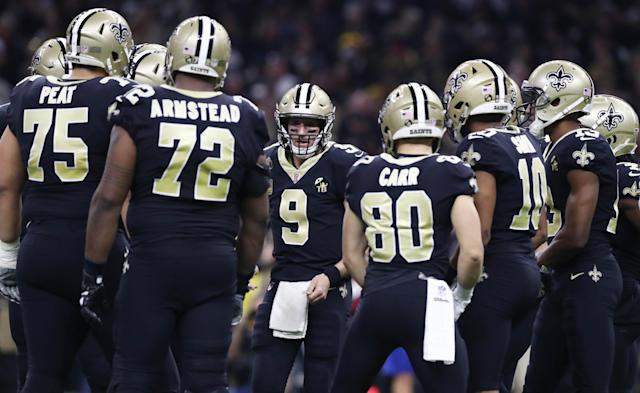 "<a class=""link rapid-noclick-resp"" href=""/nfl/players/5479/"" data-ylk=""slk:Drew Brees"">Drew Brees</a> is expected to be well-protected this season. Mandatory Credit: Matthew Emmons-USA TODAY Sports"