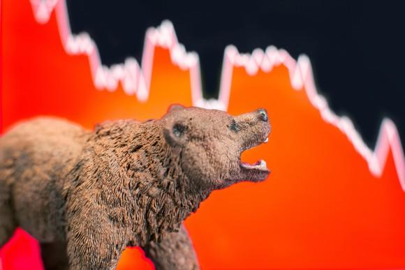 A bear in front of a red financial chart.