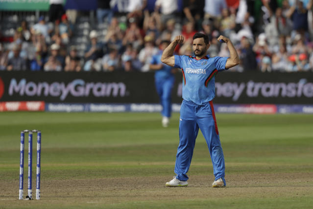Afghanistan's captain Gulbadin Naib celebrates taking the wicket of Australia's captain Aaron Finch during the Cricket World Cup match between Afghanistan and Australia at Bristol County Ground in Bristol, England, Saturday, June 1, 2019. (AP Photo/Matt Dunham)