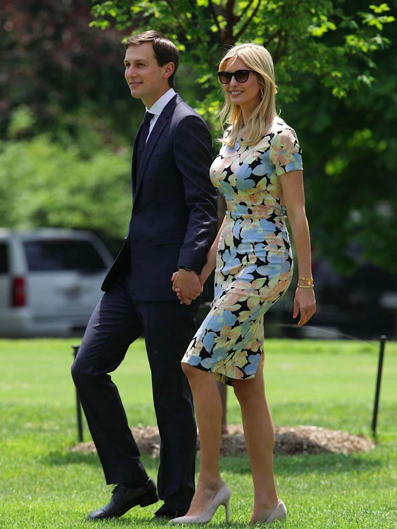 Ivanka Trump and her husband Jared Kushner, leaving for Saudi Arabia. Source: Getty