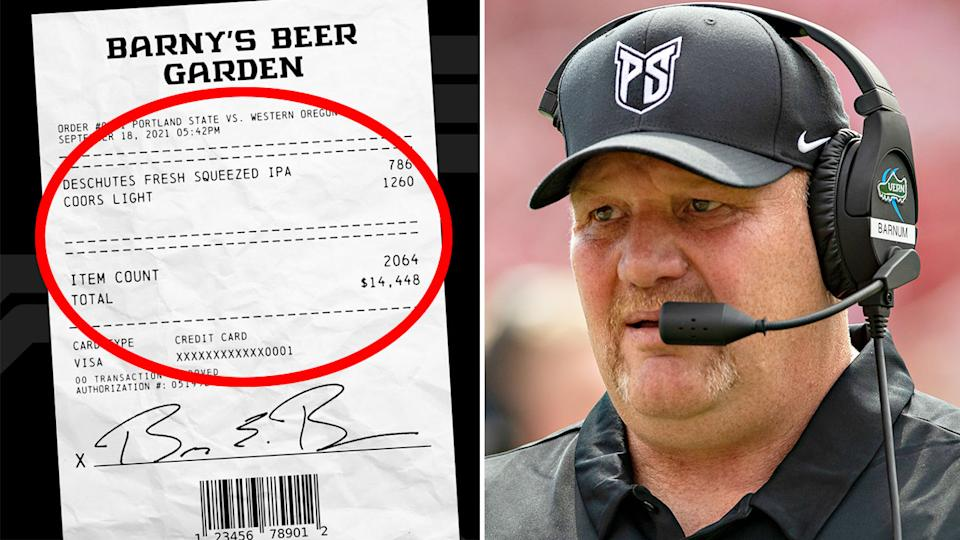 Portland State coach Bruce Barnum was left with an astronomical bar tab after a bold pledge to fans. Pic: Twitter/Getty