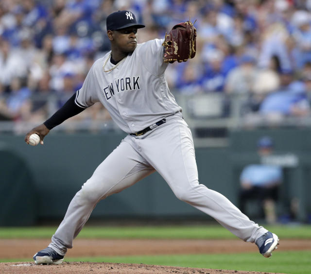New York Yankees starting pitcher Luis Severino delivers to a Kansas City Royals batter during the first inning of a baseball game at Kauffman Stadium in Kansas City, Mo., Saturday, May 19, 2018. (AP Photo/Orlin Wagner)