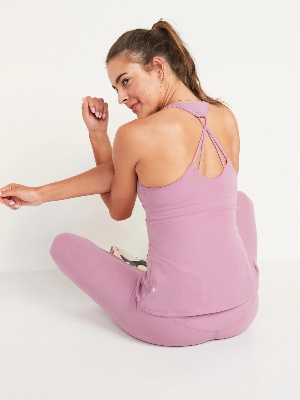 <p>You may not even need a separate sports bra when slipping into an <span>Old Navy PowerSoft Strappy Shelf Bra Tank Top</span> ($14-$20, originally $30-$35) for low-impact workouts like Pilates or barre.</p>