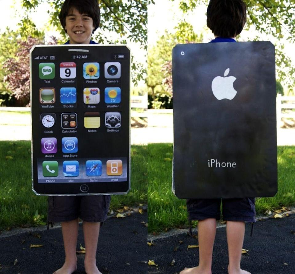 """<p>He's on his phone all the time, so why not create a replica of it for his costume?</p><p><strong>Get the tutorial at <a href=""""http://unschoolplus.blogspot.com/2010/10/homemade-halloween-costumes-iphone.html"""" rel=""""nofollow noopener"""" target=""""_blank"""" data-ylk=""""slk:UnSchoolPlus"""" class=""""link rapid-noclick-resp"""">UnSchoolPlus</a>.</strong></p><p><strong><a class=""""link rapid-noclick-resp"""" href=""""https://go.redirectingat.com?id=74968X1596630&url=https%3A%2F%2Fwww.staples.com%2FElmer-s-Black-Foam-Display-Board-36-x-48%2Fproduct_922528%3Fakamai-feo%3Doff&sref=https%3A%2F%2Fwww.countryliving.com%2Fdiy-crafts%2Fg21603260%2Fdiy-halloween-costumes-for-tweens%2F"""" rel=""""nofollow noopener"""" target=""""_blank"""" data-ylk=""""slk:SHOP FOAM DISPLAY BOARD"""">SHOP FOAM DISPLAY BOARD</a></strong></p>"""