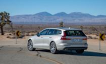 <p>Like its platform-mates, the V60 feels strong and solid on the road. Its steering is hefty and the wagon is locked in at speed.</p>