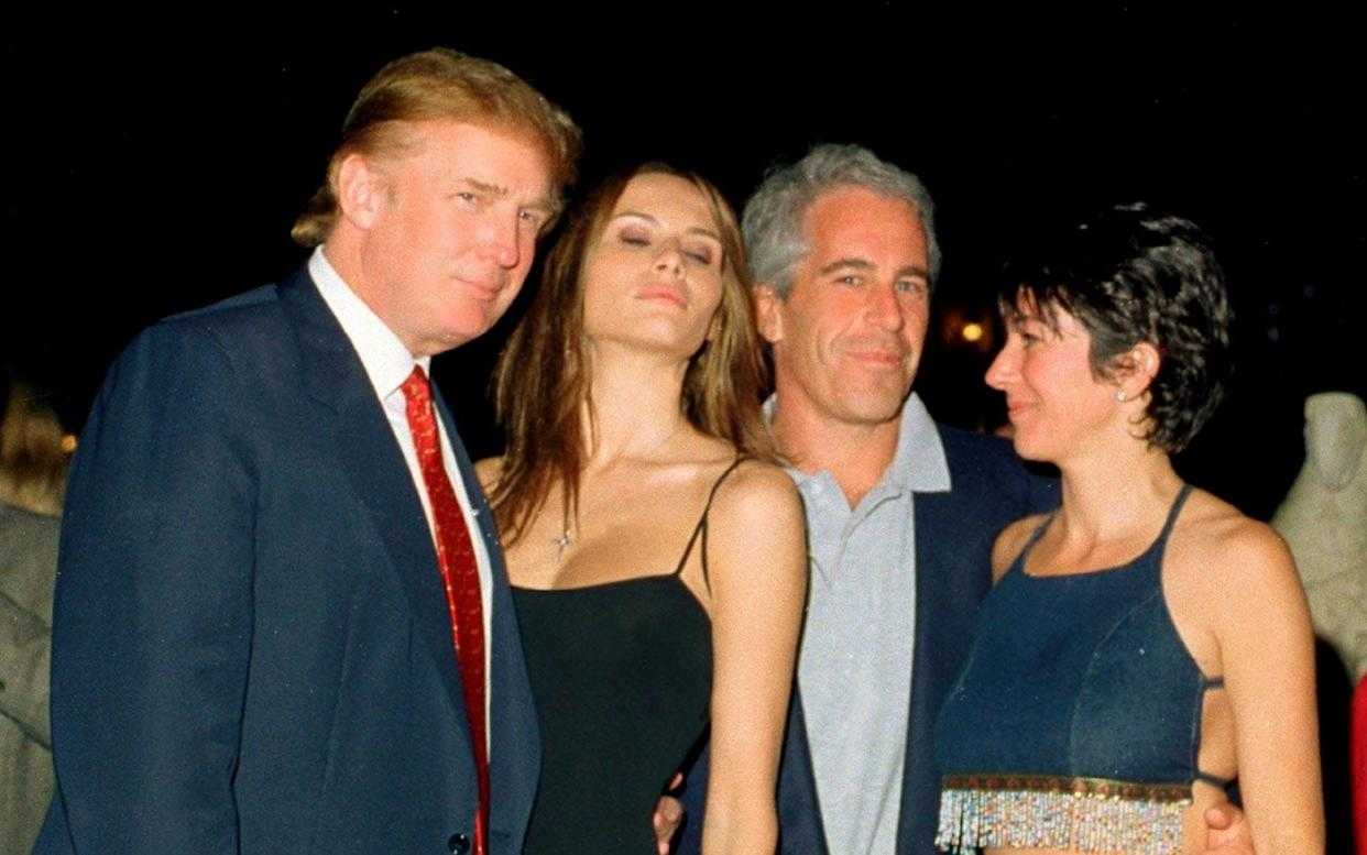Ghislaine Maxwell, right, and Jeffrey Epstein, with Donald and Melania Trump at the Mar-a-Lago club in 2000 - Archive Photos