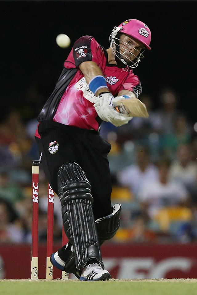BRISBANE, AUSTRALIA - JANUARY 07:  Michael Lumb of the Sixers bats during the Big Bash League match between the Brisbane Heat and the Sydney Sixers at The Gabba on January 7, 2013 in Brisbane, Australia.  (Photo by Chris Hyde/Getty Images)