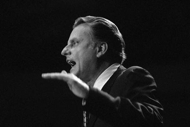 <p>Evangelist Billy Graham speaks at Madison Square Garden in New York, June 13, 1969, to a large crowd on the first night of a 10-day crusade. (Photo: AP) </p>