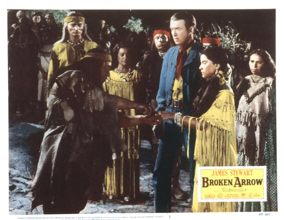 Broken Arrow, lobbycard, from left: Jeff Chandler, Chris Willow Bird, Argentina Brunetti, Jay Silverheels, James Stewart, Debra Paget, Dolores Christine Cypert, 1950. (Photo by LMPC via Getty Images)