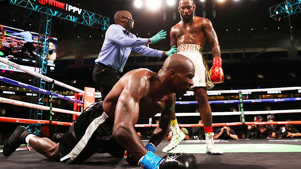 Former NFL player Chad Johnson was decked by Brian Maxwell on the undercard for the Logan Paul-Floyd Mayweather bout.