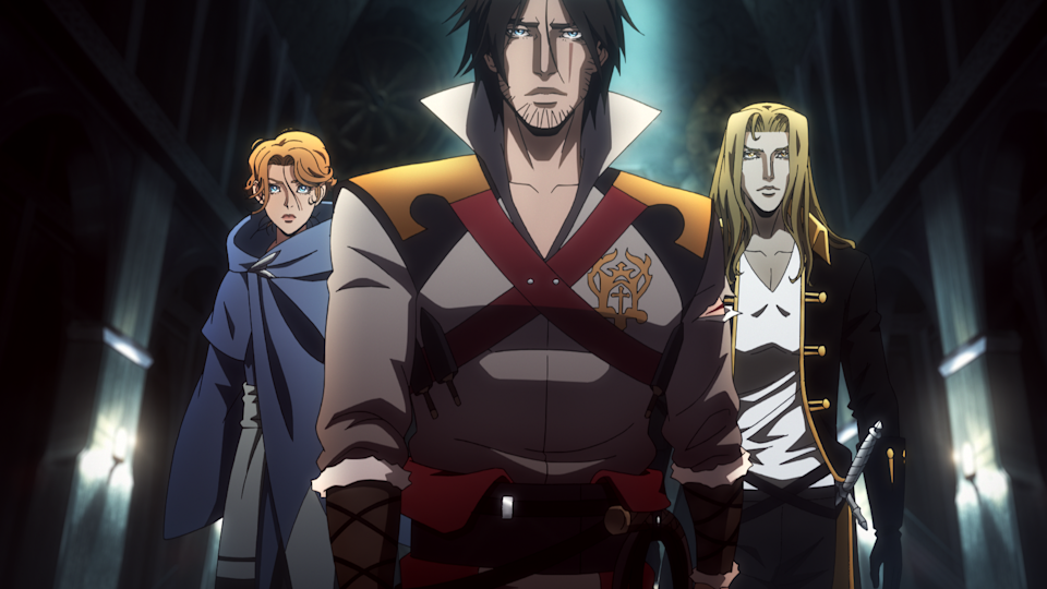 The three heroes of Castlevania: Sypha Belnades, Trevor Belmont, and Alucard. (Still courtesy of Netflix)