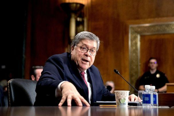 PHOTO: Attorney General William Barr testifies during a Senate Judiciary Committee hearing on Capitol Hill in Washington on May 1, 2019. (Andrew Harnik/AP, FILE)