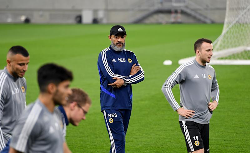 BRATISLAVA, SLOVAKIA - OCTOBER 23: Nuno Espirito Santo the head coach / manager of Wolverhampton Wanderers during a Wolverhampton Wanderers training session at New Slovakia National Stadium, Tehelne pole Stadium on October 23, 2019 in Bratislava, Slovakia. (Photo by Sam Bagnall - AMA/Getty Images)