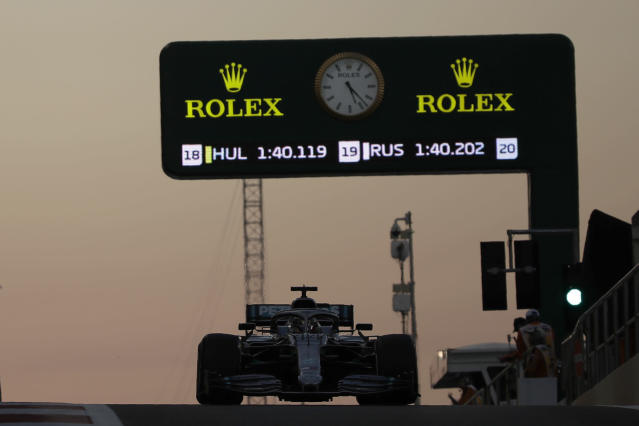 Mercedes driver Lewis Hamilton of Britain steers his car during the second free practice at the Yas Marina racetrack in Abu Dhabi, United Arab Emirates, Friday, Nov. 29, 2019. The Emirates Formula One Grand Prix will take place on Sunday. (AP Photo/Luca Bruno)