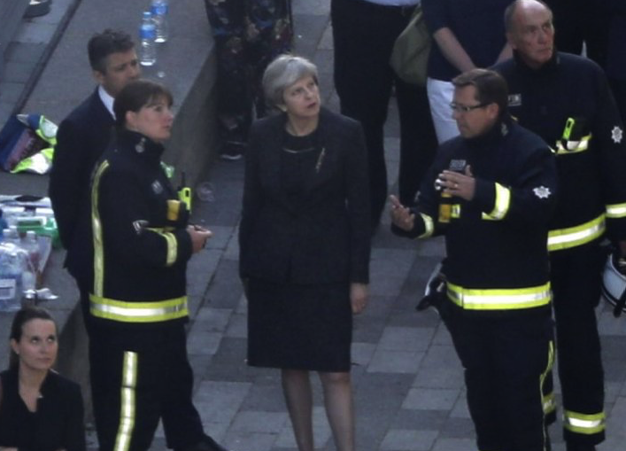 Theresa May visited Grenfell Tower in private (Picture: BBC)