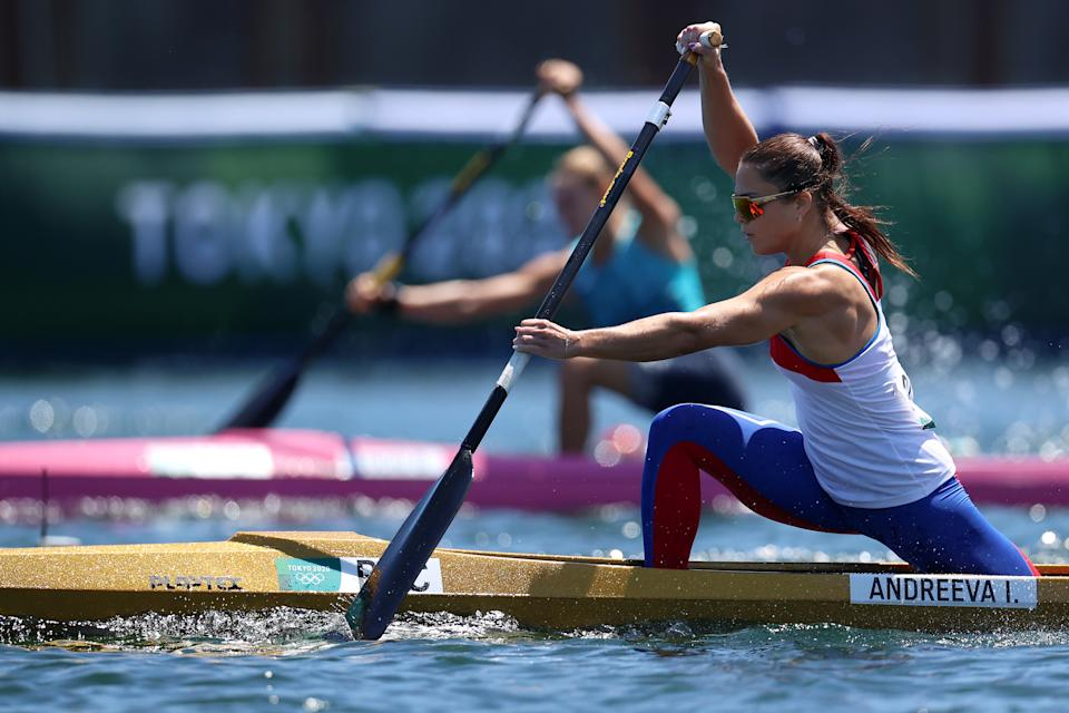 <p>TOKYO, JAPAN - AUGUST 04: Irina Andreeva of Team ROC competes during the Women's Canoe Single 200m Quarterfinal 2 on day twelve of the Tokyo 2020 Olympic Games at Sea Forest Waterway on August 04, 2021 in Tokyo, Japan. (Photo by Francois Nel/Getty Images)</p>