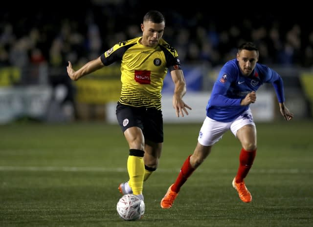 Harrogate's Jack Muldoon in FA Cup first round action against Portsmouth last year
