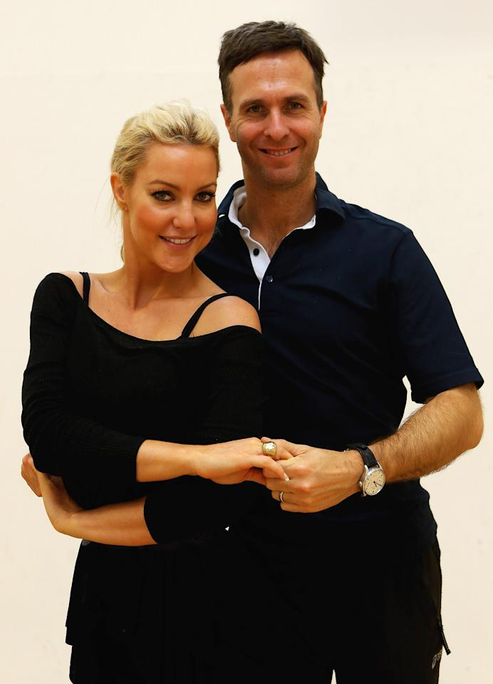 LOUGHBOROUGH, ENGLAND - OCTOBER 24:  Michael Vaughan rehearses his 'Strictly Come Dancing' routine with partner Natalie Lowe in front of the England Under 17's cricket squad at National Cricket Centre on October 24, 2012 in Loughborough, England.  (Photo by Matthew Lewis/Getty Images)