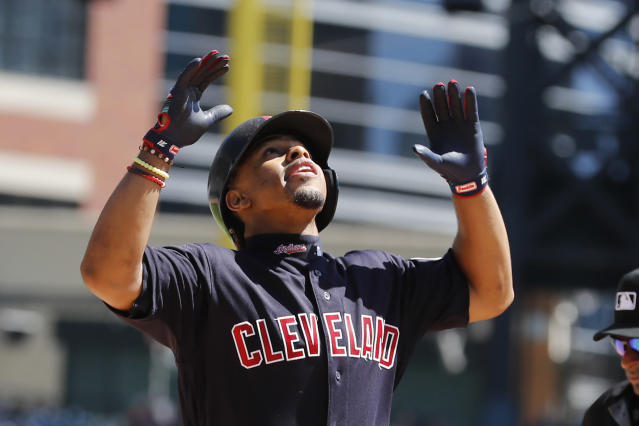 Cleveland Indians' Francisco Lindor looks skyward as he crosses home plate after a solo home run during the third inning of a baseball game against the Detroit Tigers, Thursday, Aug. 29, 2019, in Detroit. (AP Photo/Carlos Osorio)