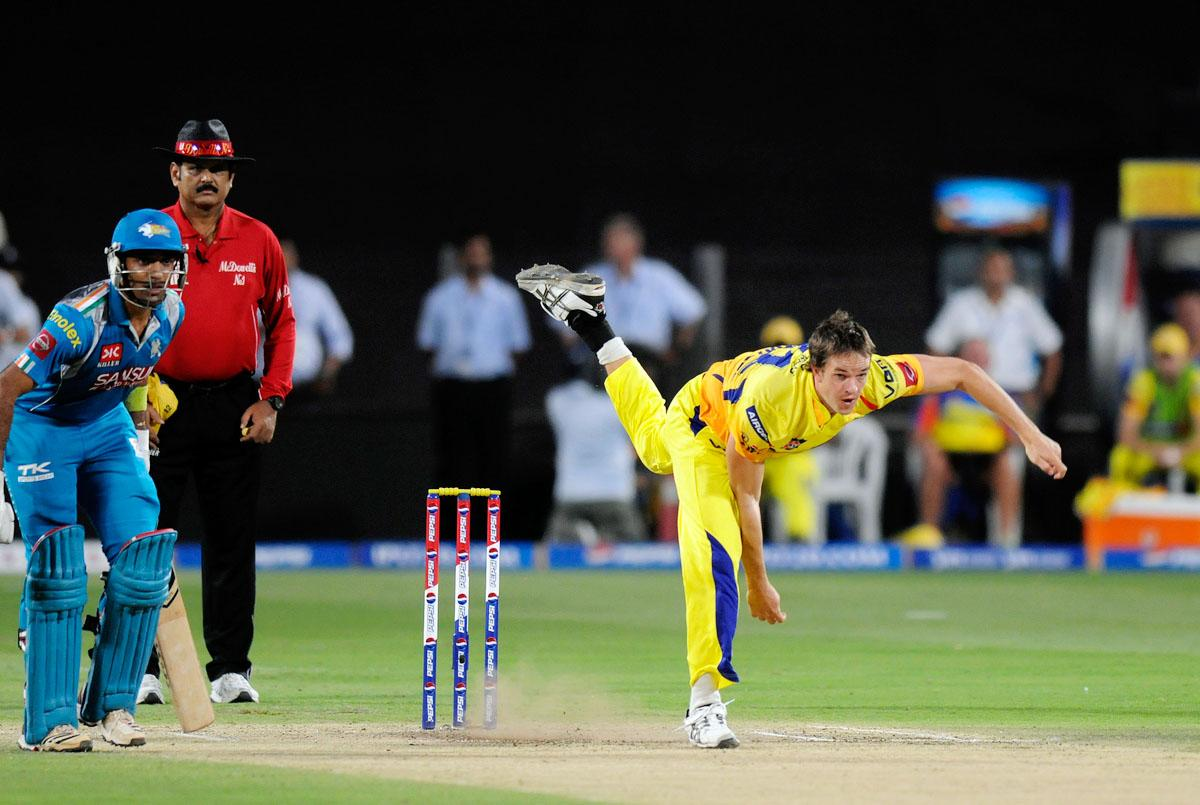 Albie Morkel of Chennai Super Kings bowls during match 42 of the Pepsi Indian Premier League ( IPL) 2013  between The Pune Warriors India and the Chennai Superkings held at the Subrata Roy Sahara Stadium, Pune on the 30th April  2013. (BCCI)