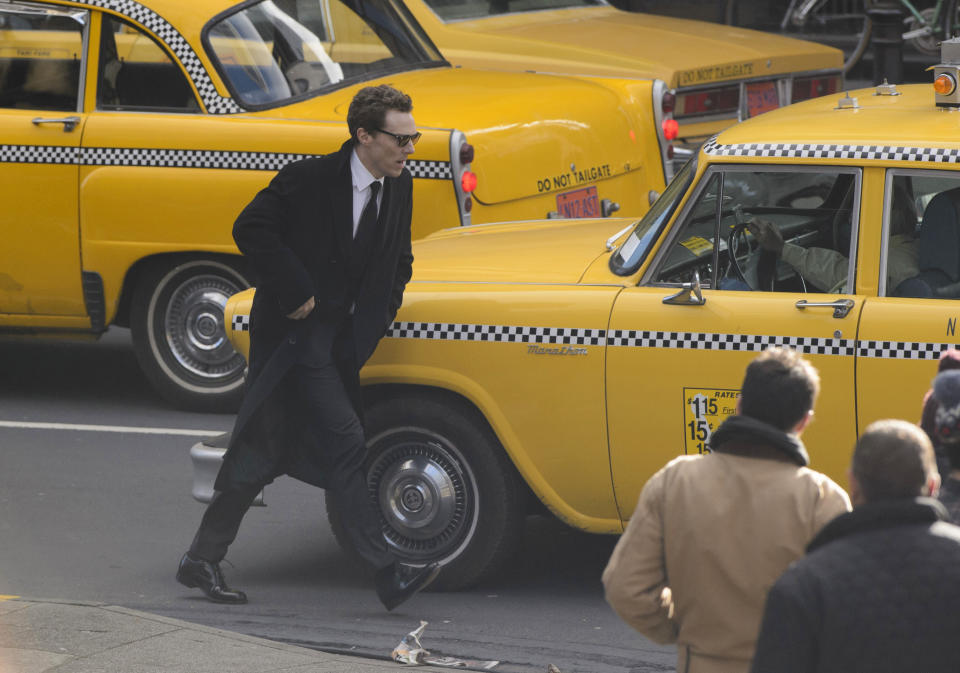 """British actor Benedict Cumberbatch shoots scenes in Glasgow which has been transformed into New York City for filming of the TV show """"Melrose"""", in Scotland, Sunday Oct. 29, 2017. (John Linton/PA via AP)"""