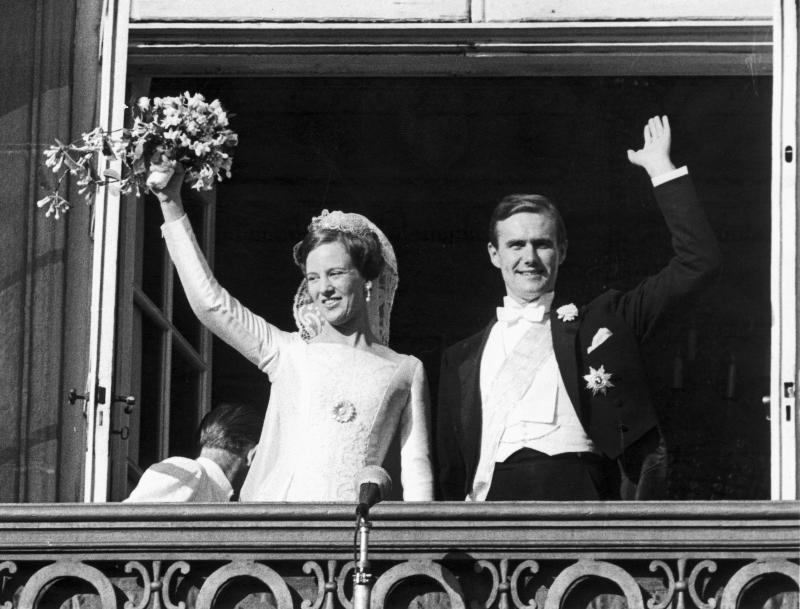DENMARK - OCTOBER 14: Princess Margrethe, later Queen Margrethe II, weds Prince Henrik in Copenhagen. Prince Henrik was formerly French diplomat Count Henri de Monpezat. (Photo by SSPL/Getty Images)