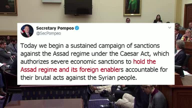 """<p>The United States imposed its toughest sanctions ever on Syria on Wednesday (June 17), aiming to choke off revenue for Syrian President Bashar al-Assad's government in an effort to force the country back to UN-led negotiations and broker a deal to end the country's nearly decade-long war. </p>               <p>The scaling up of sanctions includes new travel restrictions and  financial sanctions striking Assad's inner circle, including his wife Asma.</p>               <p>The new sanctions can also freeze the assets of anyone dealing with Syria, regardless of nationality, and target those dealing with entities from Russia and Iran -- Assad's main backers.</p>               <p>However, Syrian authorities blame Western sanctions for the widespread hardship among ordinary residents.</p>               <p>The tough measures come as Assad grapples with his country's deepening economic crisis, and a rare outbreak of protests in government-held areas.</p>               <p>Syria's currency collapse has led to soaring prices, with ordinary people struggling to afford food and basic supplies.</p>               <p>But some residents in the country's capital, Damascus, were not too worried.</p>               <p>""""We will not be affected, if the government and people work together, and we won't be affected if we don't steal from each other. But if people start robbing each other then we will be affected. We have not been affected since the beginning of the war, we were not affected by the bombardment and blood in the streets.""""</p>               <p>On Wednesday U.S. Secretary of State Mike Pompeo said the new measures would quote """"hold the Assad regime and its foreign enablers accountable for their brutal acts against the Syrian people"""" and warned of further sanctions to come.</p>               <p>Washington said this is the first taste of a deeper and broader pressure campaign against Assad and his wife, who Pompeo described as quote """"one of Syria's most notorious war profiteers."""