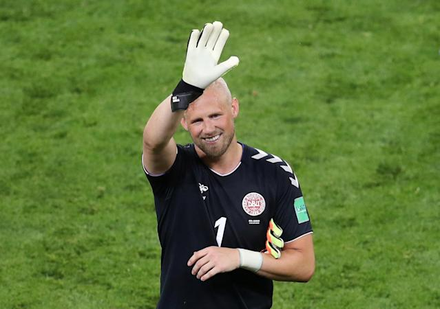 Soccer Football - World Cup - Group C - Peru vs Denmark - Mordovia Arena, Saransk, Russia - June 16, 2018 Denmark's Kasper Schmeichel celebrates after the match REUTERS/Ricardo Moraes
