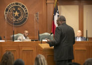 State Sen. Royce West, D-Dallas, testifies in favor of the George Floyd Act during a hearing of the Texas House Committee on Homeland Security and Public Safety at the Capitol in Austin, Texas, on Thursday March 25, 2021. George Floyd's killing last year and the protests that followed led to a wave of police reforms in dozens of states, from changes in use-of-force policies to greater accountability for officers. At the same time, lawmakers in a handful of states have had success addressing racial inequities. West, one of the state's most prominent Black lawmakers, acknowledges the George Floyd Act faces long odds in the Republican-dominated Legislature. (Jay Janner /Austin American-Statesman via AP)