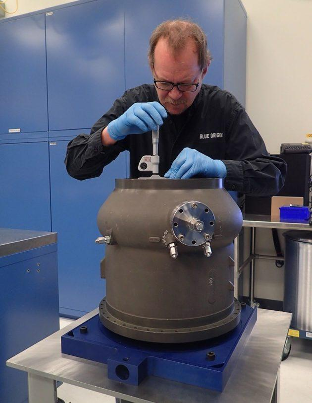 An employee works on the BE-4 Ox Boost Pump prior to engine installation. (Blue Origin Photo via Jeff Bezos)